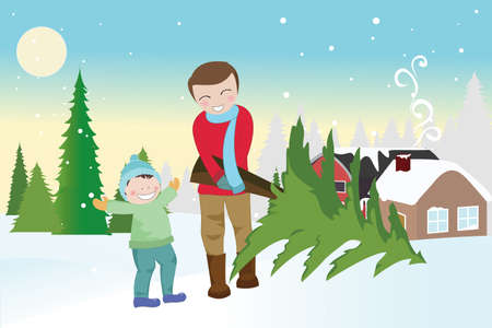 illustration of a father and a son carrying a christmas tree outdoor during winter