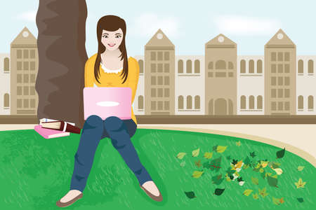 college girl:   illustration of a female college student studying on campus