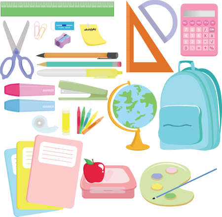 school backpack:   illustration of a variety of school supplies