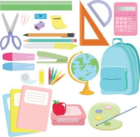 utiles escolares: Ilustraci�n de una variedad de material escolar