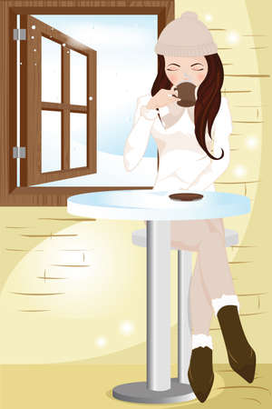 hot:   illustration of a girl drinking coffee in a cafe