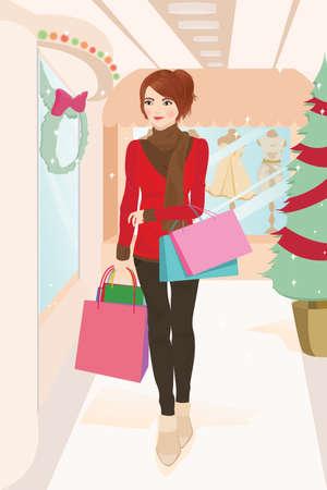 A beautiful woman shopping during Christmas season