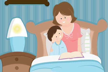 child bedroom: Una madre leyendo una historia de ir a dormir a su hijo