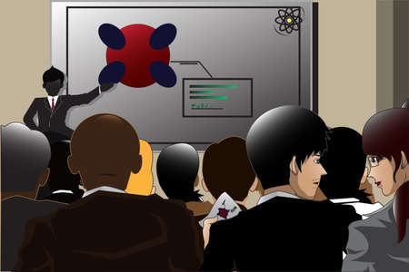 illustration of business people attending a conference Ilustrace