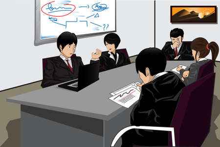 asian business woman:  illustration of a group business people in a meeting