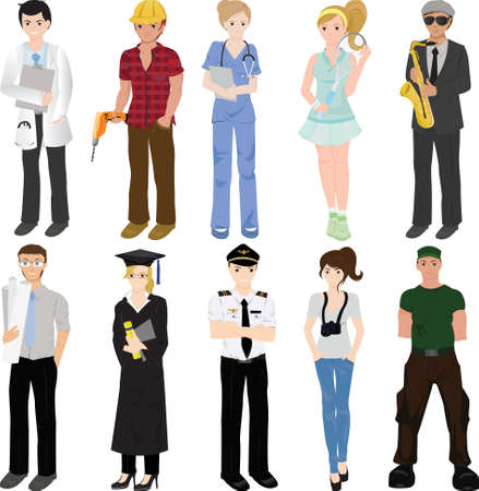 professionals: illustration of a collage of professional workers