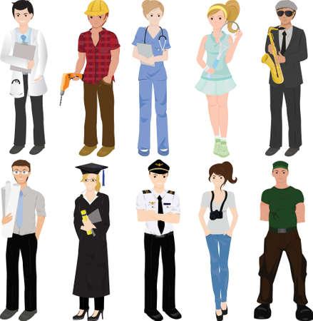 Ilustración de un collage de trabajadores profesionales
