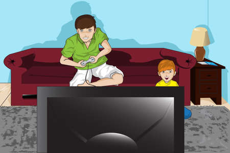 playing video game:  illustration of a father and his son playing video games