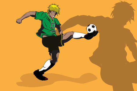 illustration of a soccer player kicking a ball Stok Fotoğraf - 8078852