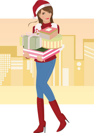 carrying:  illustration of a beautiful girl carrying Christmas gifts