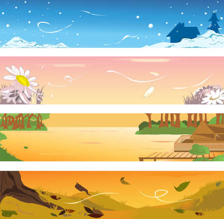 illustrations of banners of four different seasons Иллюстрация