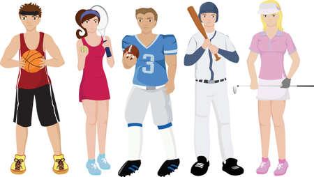 illustraties van een groep van sport atleten