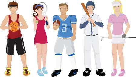 female athletes:  illustrations of a group of sport athletes Illustration