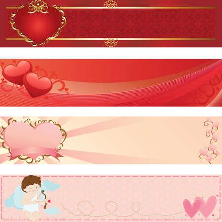 발렌타인 데이를위한 웹 배너 삽화