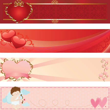 illustrations of web banners for valentine day Banco de Imagens - 8199278