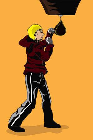 male boxer:  illustration of a male boxer training Illustration
