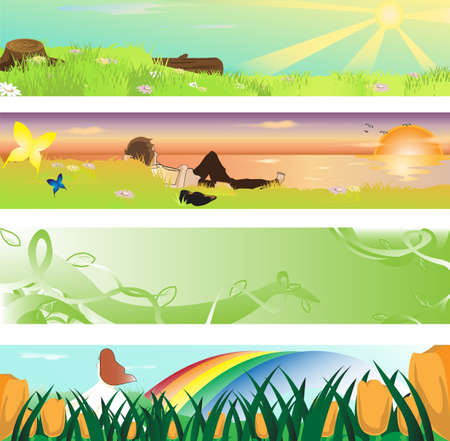 illustration of collection of spring season banners