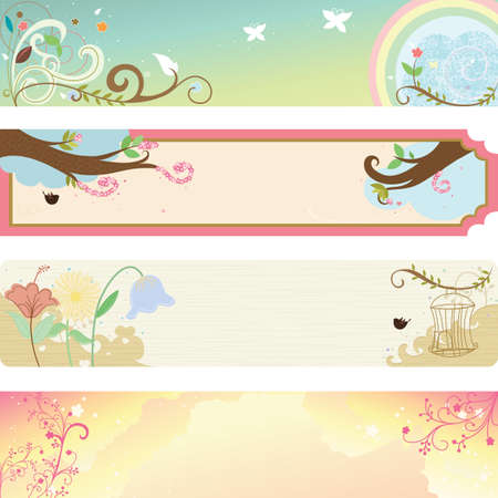 website header:  illustration of collection of spring season banners Illustration