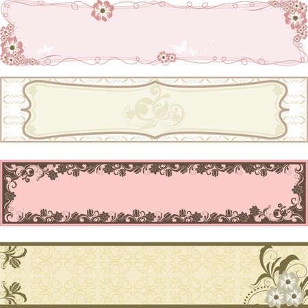 illustratie van collectie van bloem banners