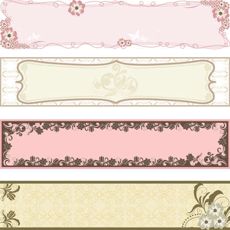 spring:   illustration of collection of flower banners
