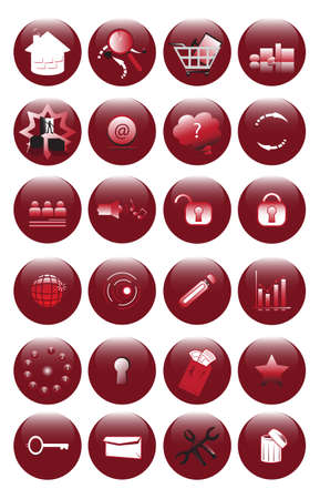 illustration of red icons set for websites Vector