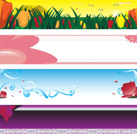 illustration of collection of spring season banners Vector