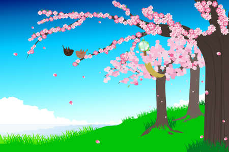 spring: illustration of a spring cherry blossom