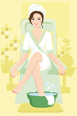 spa beauty:  illustration of a woman receiving a spa treatment