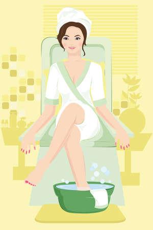 pedicura:  Ilustraci�n de una mujer recibe un tratamiento de spa Vectores