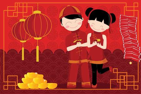 中国の旧正月を祝う子供のペアのイラスト