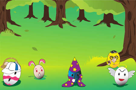 illustration of Easter eggs laying on the grass Vettoriali