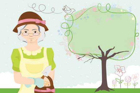 illustratie van een oudere vrouw tuinieren