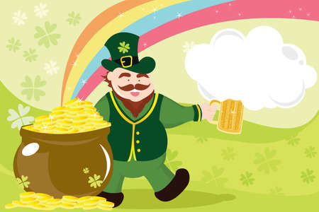 st  patrick day:  illustration of a leprechaun with beer mug and pot of gold celebrating St Patrick day
