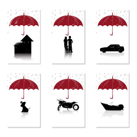 A vector illustration of a set of insurance concept for house, people, auto, pet, motorcyle and boat