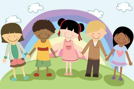 Een vector illustratie van etnische kinderen multi hand in hand voor diversiteit concept Stock Illustratie