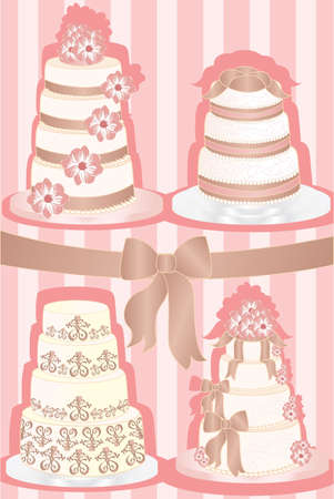 greeting card background: A vector illustration of a set of wedding cakes