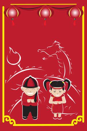 Illustration d'une paire d'enfants c?l?brant le Nouvel An chinois Banque d'images - 8420282