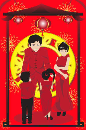 illustration of Asian parents giving their children red envelopes(hongbao) celebrating Chinese New Year Illustration