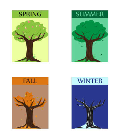 illustration of a set of four seasons trees Vector