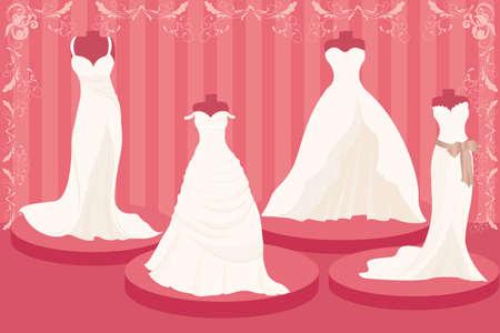 illustratie van een set van trouw jurken