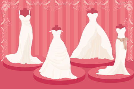 pink dress: illustration of a set of wedding dresses Illustration