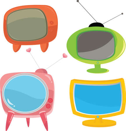 illustration of a set of colorful televisions Çizim