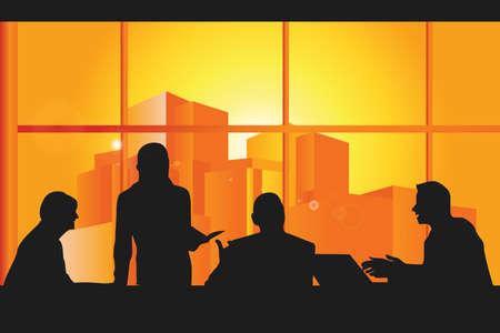 会議のグループ ビジネス人のイラスト