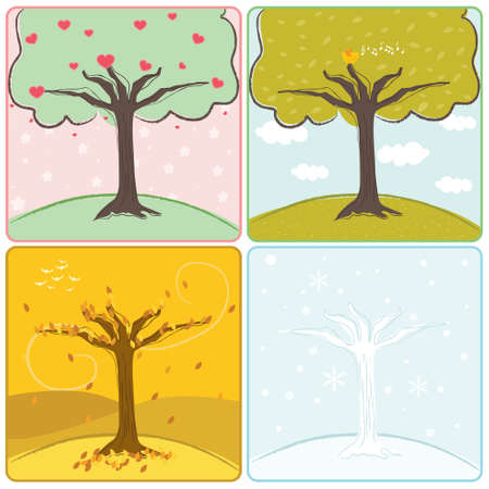 A vector illustration of a tree in four seasons Stock Vector - 8460635