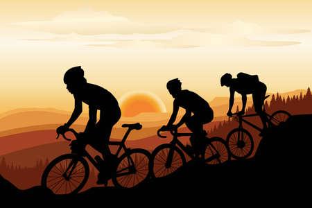 Een vector illustratie van een groep van mountainbikers