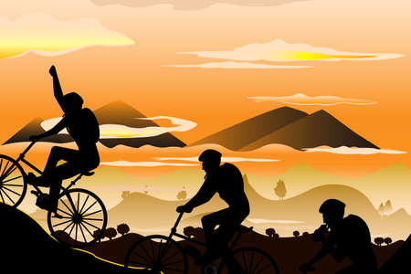 illustration of a group of mountain bikers Stock Illustratie