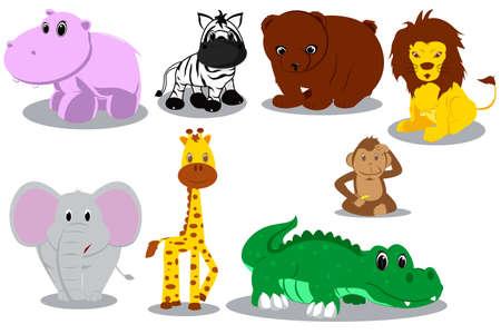 Ilustración de dibujos animados de diferentes animales salvajes