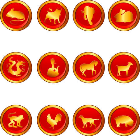 chinese astrology:   illustration of Chinese astrology signs