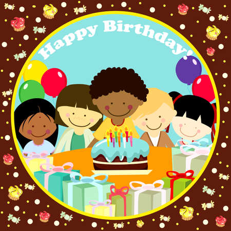 kids birthday party:   illustration of a birthday card Illustration