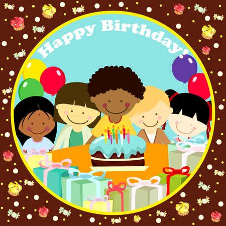birthday party kids:   illustration of a birthday card Illustration